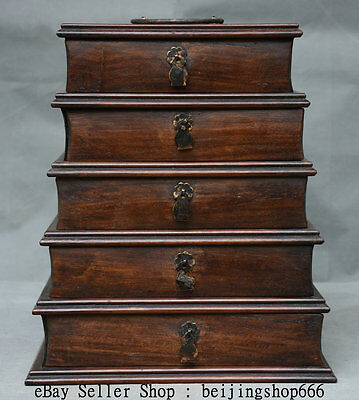 "11"" Rare Old Chinese Huanghuali Wood Hand Carved Five-story Jewel case or Box"