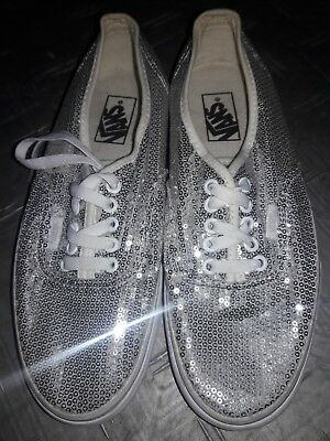 f394f4833d56 EUC VANS Off The Wall Silver Sequin Tie-up Skate Shoes Womens 9.5 Mens 8