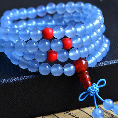 108 Prayer Bead Natural Blue Chalcedony Agate Stretch Bracelet Buddhist Necklace