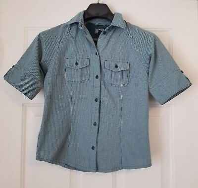 REI women's button green checked hiking shirt short sleeve vented XS extra small