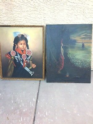 2 Vintage Native American Indian Oil Paintings 1 is antique around 100 yrs old