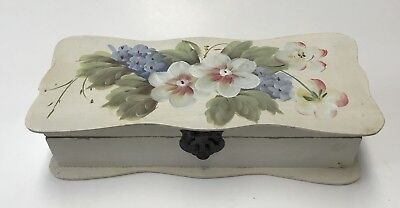 Victorian Wood LOCKING GLOVE STORAGE BOX with Painted Flowers Antique Vintage