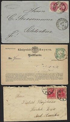 Germany 1866 1930 Collection Of 7 Covers Including Prussia Bavaria Berlin Air Ma