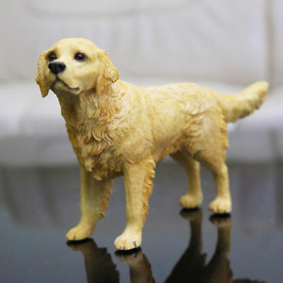 Resin MINI Golden Retriever Dog Hand Painted model Statue Pet Lovers Gift