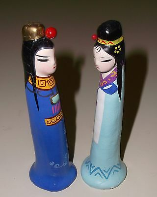 "Pair of Madonnas for Nativity Scene Chinese Hand Painted Clay Sculptures 4"" OLD"