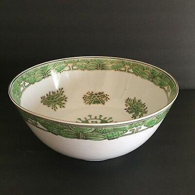 Lovely Vintage 12 inch Centerpiece Punch Bowl ASIAN with Gold Green Dragonflies