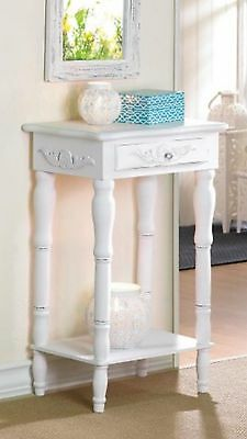 Table: Shabby Cottage Chic Distress White Night Stand End Table With Shelf-34353