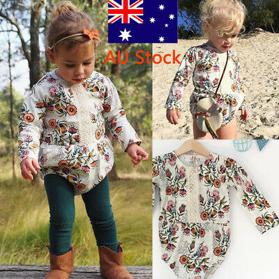 Toddler Boys Girls Floral Romper Newborn Baby Long Sleeve Jumpsuit Kids Outfit