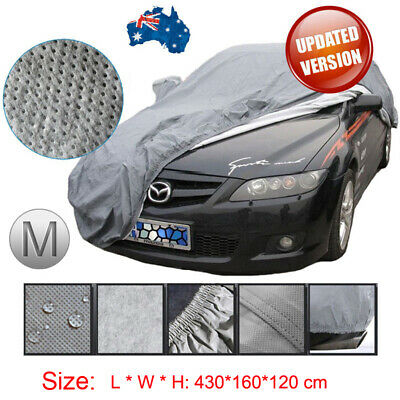 100% Waterproof Medium Full Car Cover 3Layer Heavy Duty Breathable UV Protection