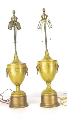 Vtg Antique French Gold Tole Hand Painted Lion Handles Urn Table Lamp Pair