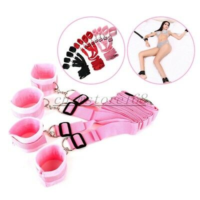Handcuffs Adult Fantasy Sex Slave Hand Ring Ankle Bed Cuffs Restraint System Set