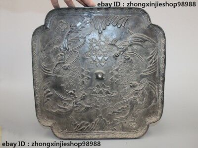 China old Pure Bronze four Dunhuang Flying Goddess Flowers Dynasty Palace Mirror