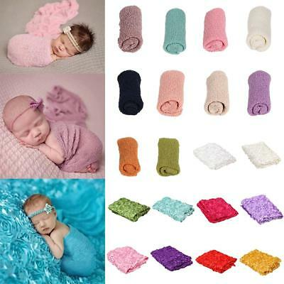 Baby Infant Stretch Crochet Photography Picture Prop Knit Baby Swaddle Wrap
