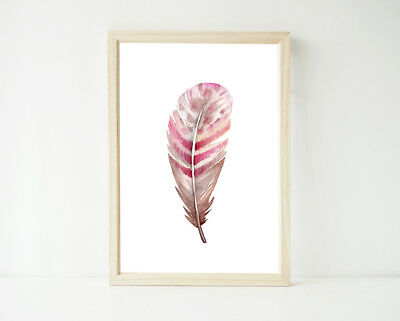 Pink Boho Watercolor Feather Print, Poster Prints, Nursery Girls Decor Wall Art