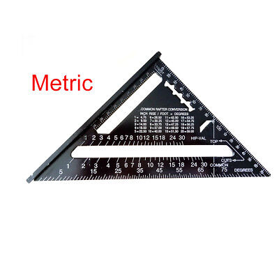 "Aluminum Alloy Speed Framing Rafter Square Metric/Imperial system 7"" ruler QM6"