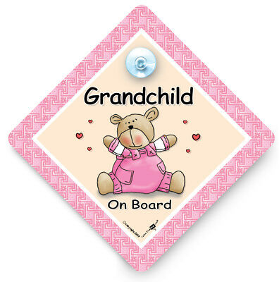 GRANDCHILD On Board Car Sign, Grand Child Car Sign, Baby On Board Sign,Pink Bear