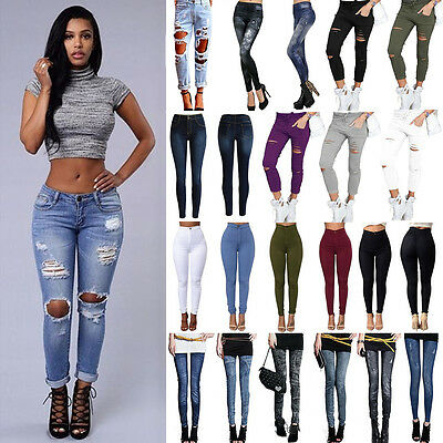 Women Destroyed Ripped Jeans Pencil Pants Denim Stretch Trousers Skinny Jeggings
