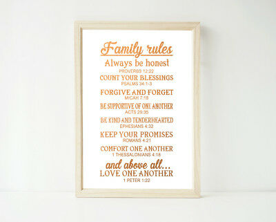 Real Foil - Family Rules Scripture Bible Quote, Print, Poster Prints Religious