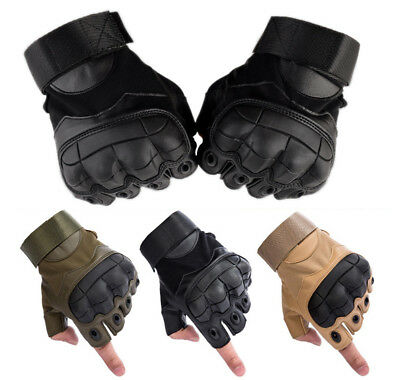 Tactical Hard Knuckle Half-finger Gloves Motorcycle Motorbike Riding Fingerless