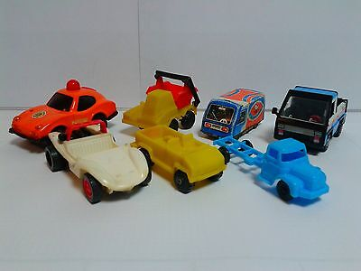 Set of East European 7 toy cars and trucks 1970's tinplate plastic CSRR DDR CCCP