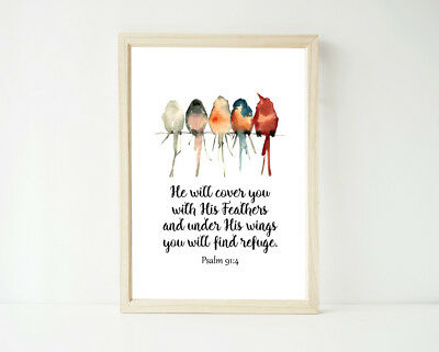 He Will Cover you with His Bird Print, Scripture Religious Quote Bible Verse Art