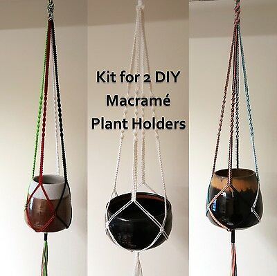 Easy DIY Macrame Kit, Plant Holders Retro Knotted Hangers,Colourful Cord-Makes 2