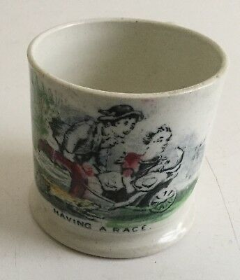 Antique Staffordshire Child's Mug Having A Race early 19th c
