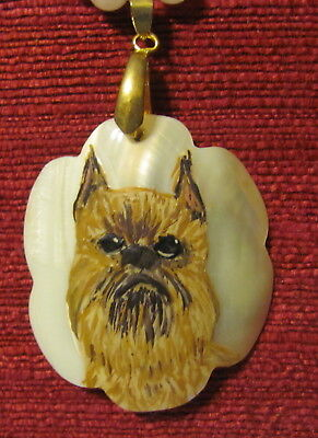 Brussels Griffon hand painted on scalloped Mother of Pearl pendant/bead/necklace