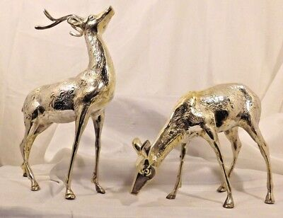 "Vintage set of Large brass deer 14""- doe and buck"