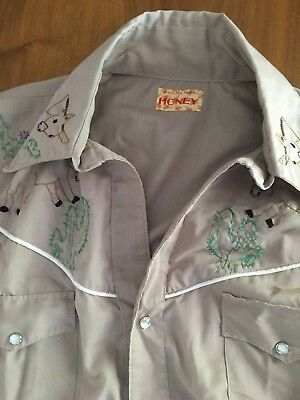 Vintage EMBROIDERY Mens Short Brown DONKEY CACTUS Western Country Pearl Snap