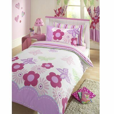 Double Bed Duvet Cover Set Sunny Days Floral White Butterfly Lilac Pink Stripes