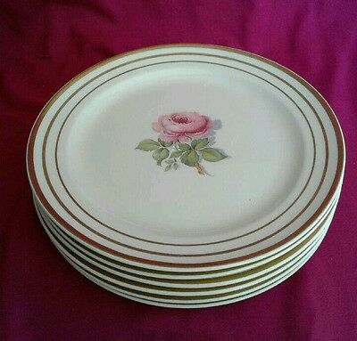 "6 Taylor Smith Taylor 7"" Salad Dessert Plates Cream Colored Pink Rose Gold Bands"