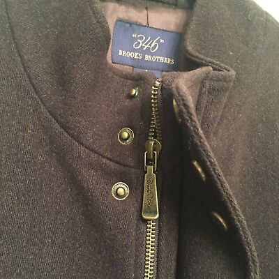 "Brooks Brothers ""346"" 100% Wool Coat Men's Size L Rich Brown NWOT"