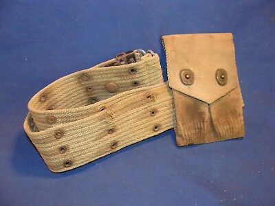 Vintage WWI Khaki Canvas 1911 45 ACP Magazine Pouch and Belt