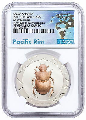 2017 Cook Is Scarab Beetle Solitary Flame HR 1 oz Silver NGC PF69 UC ER SKU51671