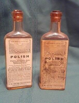 NOS - Lot of 2 - Antique Sealed Sunshine Polish Bottles - Use or Display