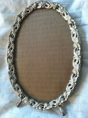 Vintage Oval Picture Frame Metal Art Nouveau Style Ornate w/ Legs Table or Wall