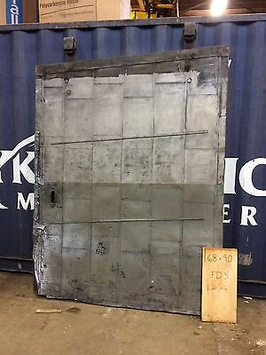 "Architectural Salvage Boiler Room Fire Door Steel Very Large Gray 68""x90"""