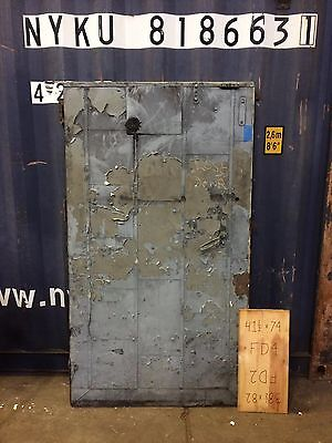 Architectural Salvage Boiler Room Fire Door Steel Small w/ Amazing Hardware
