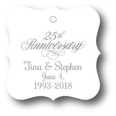 25th Wedding Anniversary Party Favor Tags - 24 personalized with names and date