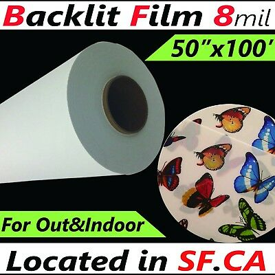 "Front Inkjet Printing Backlit PET Film for ECO-SOLVENT Printer,8mil,50"" x 100'"