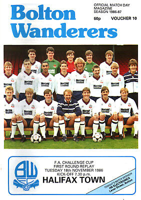 1986/87 Bolton Wanderers v Halifax Town, FA Cup, PERFECT CONDITION