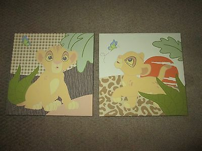 Kidsline Lion King 12x12x1 Nursery Art Decor Stretched Canvas Set of 2.