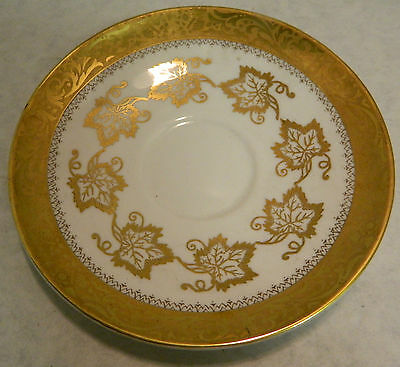 """Vintage Royal Tuscan Bone China Gold on White 5.75"""" Saucer Excellent Condition"""