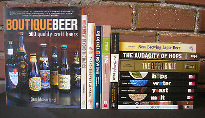 Beer Brewing Elements + Books Lot 15 Homebrew Recipes Hops Water Yeast Radical