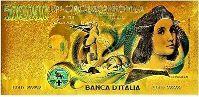 Colored Italy 50000 Lire Gold Banknotes .999 24k Gold Plated Old Note
