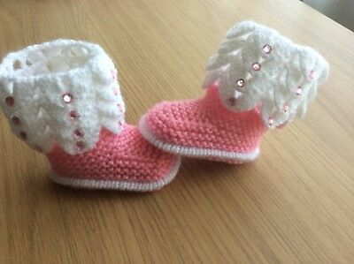 Bran new girl Hand knitted  baby girl boots/booties 0-3 months