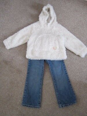 NEXT Girls Outfit, Fleecy warm Top With Blue Denim Jeans Age 4-5 Years