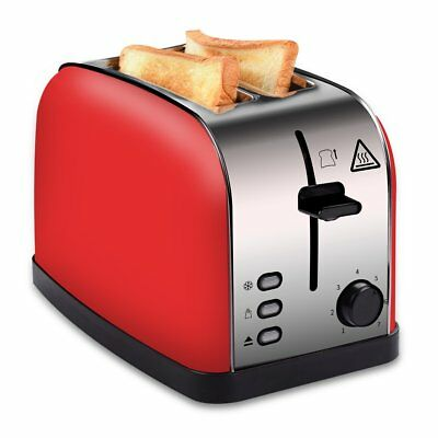 COSSCCI 2 Slice Toaster Red, Brushed Stainless Steel Toaster with Extra Wide