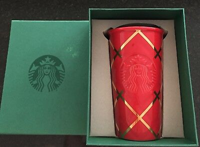 Starbucks 2016 Red Quilted w/ Gold Stripes Traveler Tumbler 10oz Ceramic Lid New
